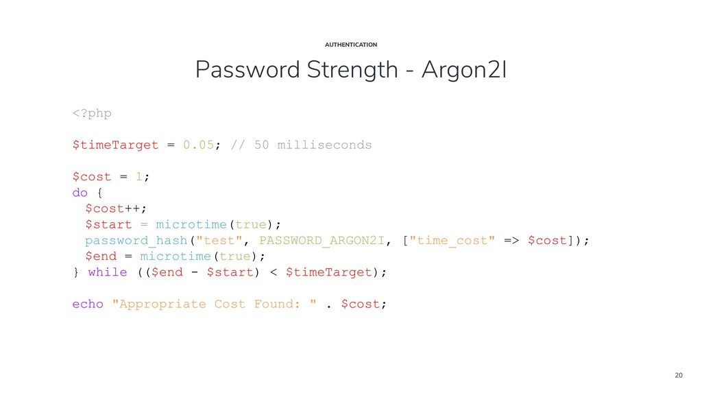20 Password Strength - Argon2I AUTHENTICATION <...