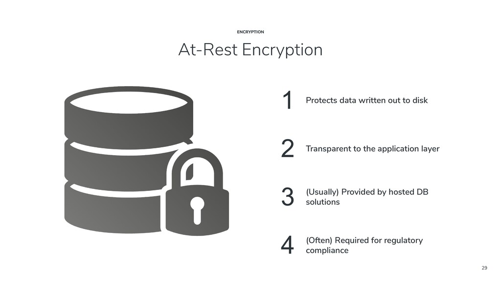 29 At-Rest Encryption ENCRYPTION 1 Protects dat...