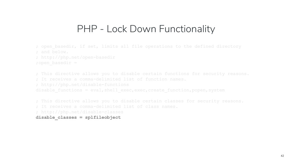 42 PHP - Lock Down Functionality ; open_basedir...