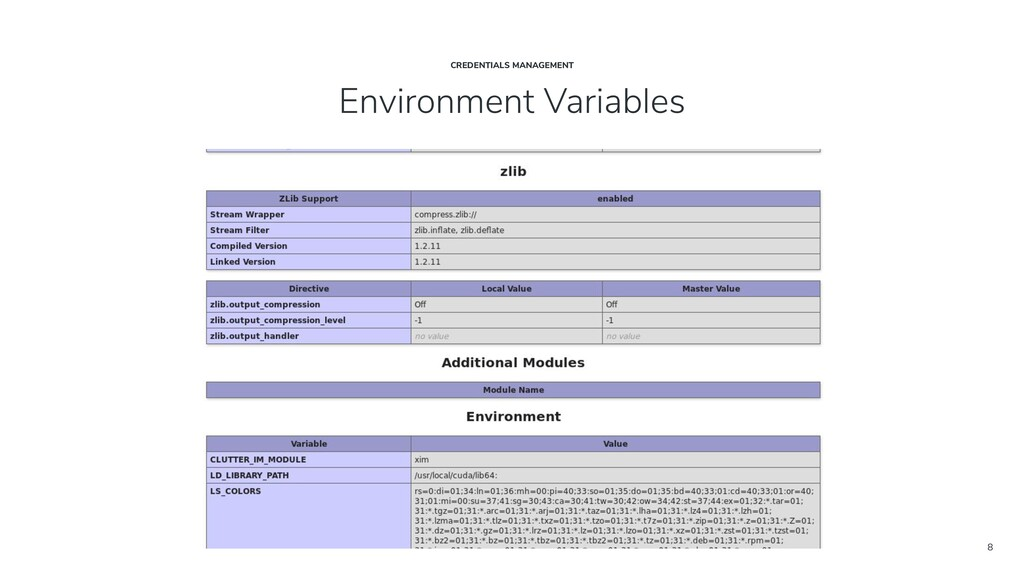 8 Environment Variables CREDENTIALS MANAGEMENT