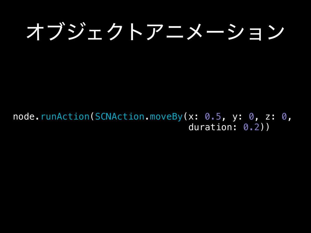 ΦϒδΣΫτΞχϝʔγϣϯ node.runAction(SCNAction.moveBy(x...