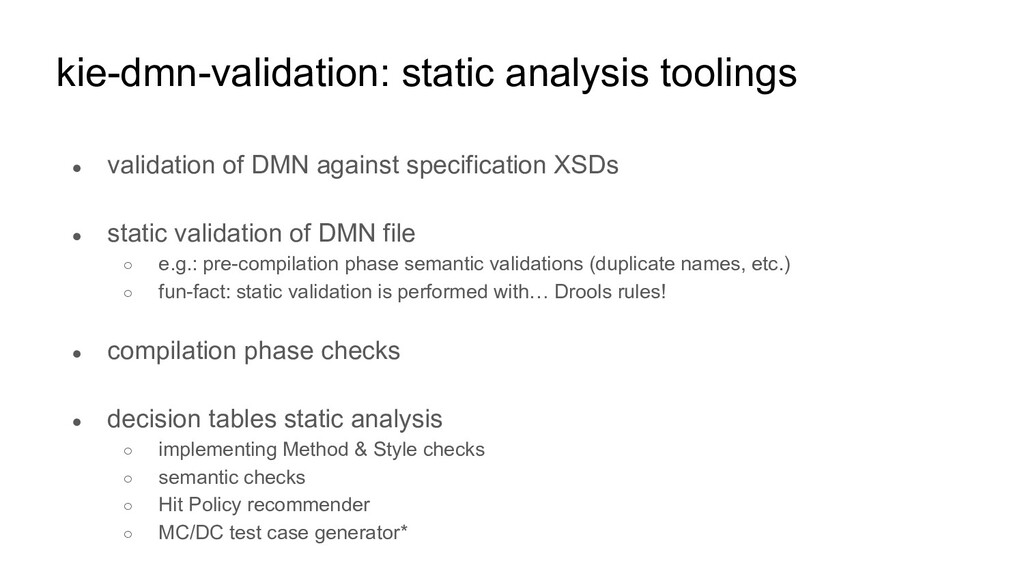 kie-dmn-validation: static analysis toolings ● ...