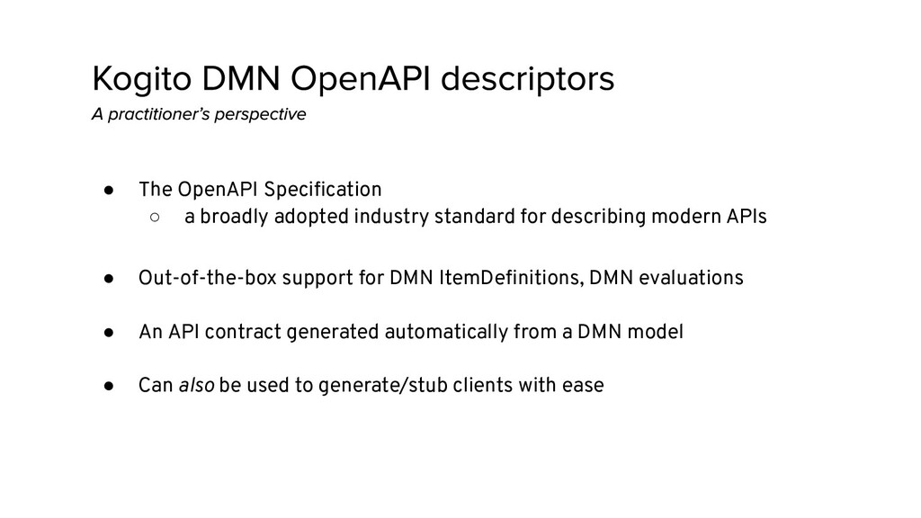 ● The OpenAPI Specification ○ a broadly adopted ...