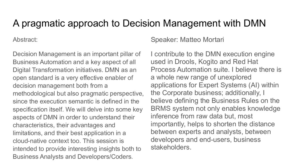 A pragmatic approach to Decision Management wit...