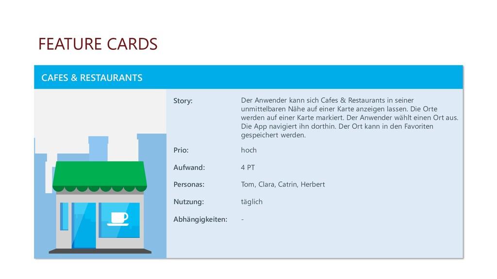 FEATURE CARDS CAFES & RESTAURANTS Story: Der An...