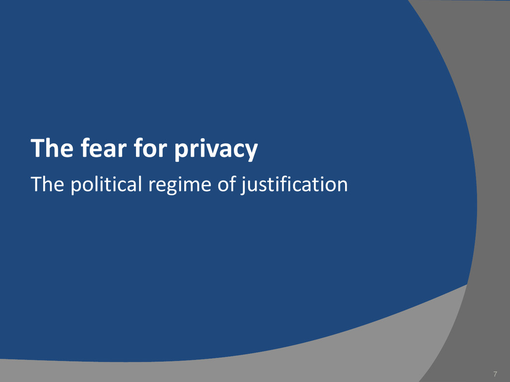 The fear for privacy The political regime of ju...