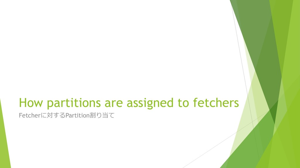 How partitions are assigned to fetchers Fetcher...