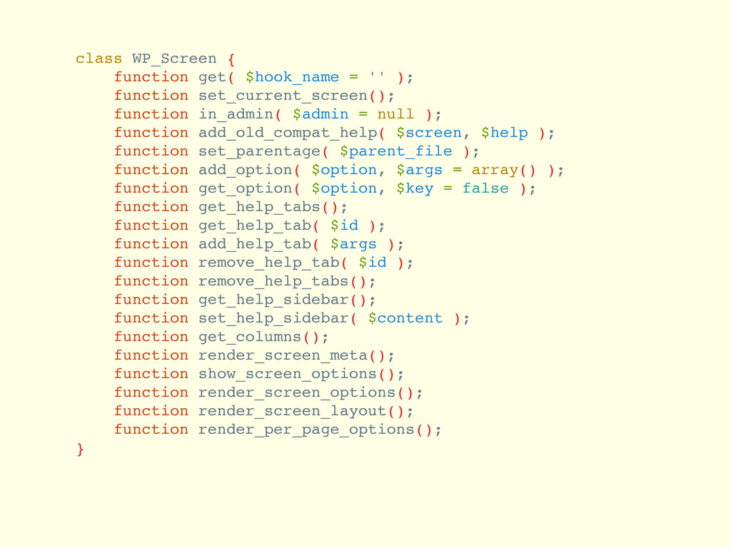 class WP_Screen { function get( $hook_name = ''...