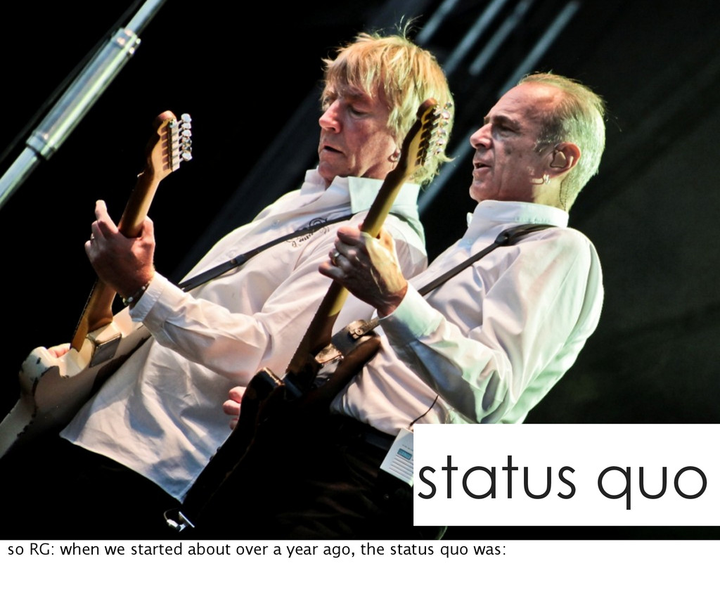 status quo so RG: when we started about over a ...