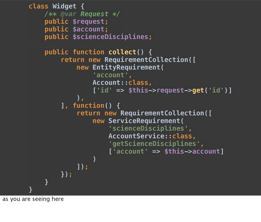 class Widget { /** @var Request */ public $requ...
