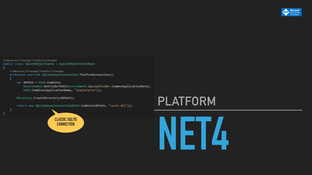 NET4 PLATFORM CLASSIC SQLITE CONNECTION