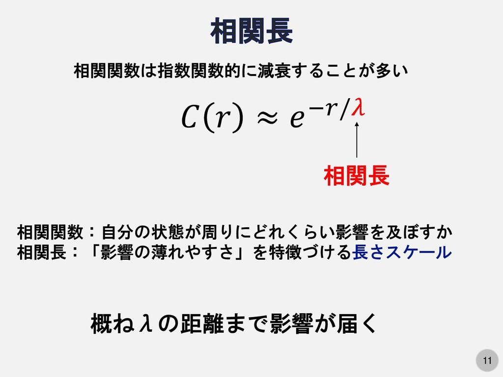 11   ≈ −/ 相関関数は指数関数的に減衰することが多い 相関長 概ねλの距離まで影響が届...