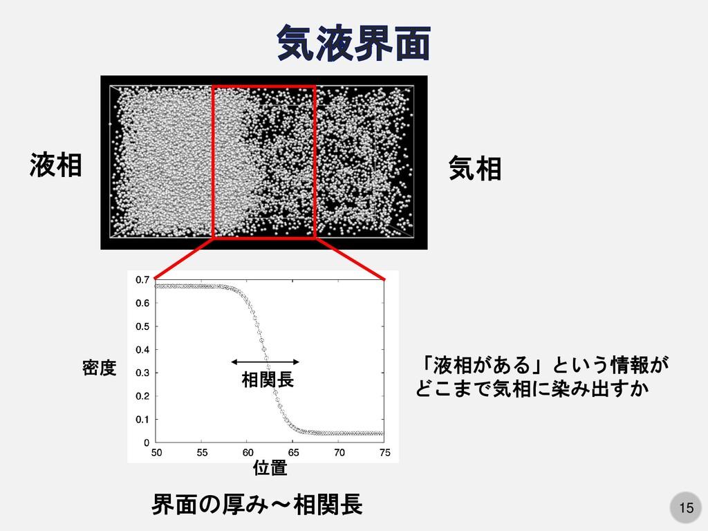 15 液相 気相 密度 位置 相関長 界面の厚み〜相関長 「液相がある」という情報が どこまで...