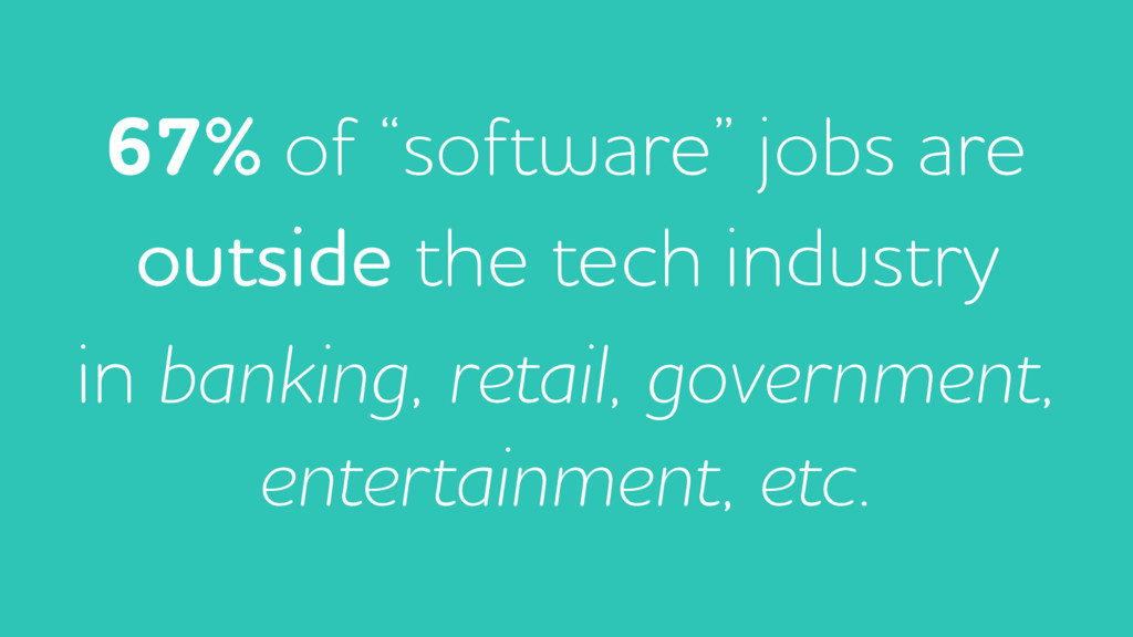 """67% of """"software"""" jobs are outside the tech ind..."""