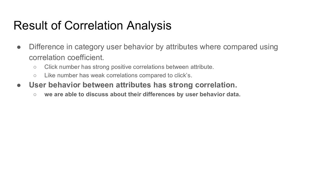 Result of Correlation Analysis ● Difference in ...