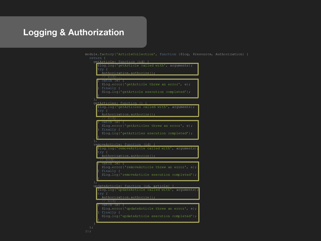 Logging & Authorization module.factory('Article...