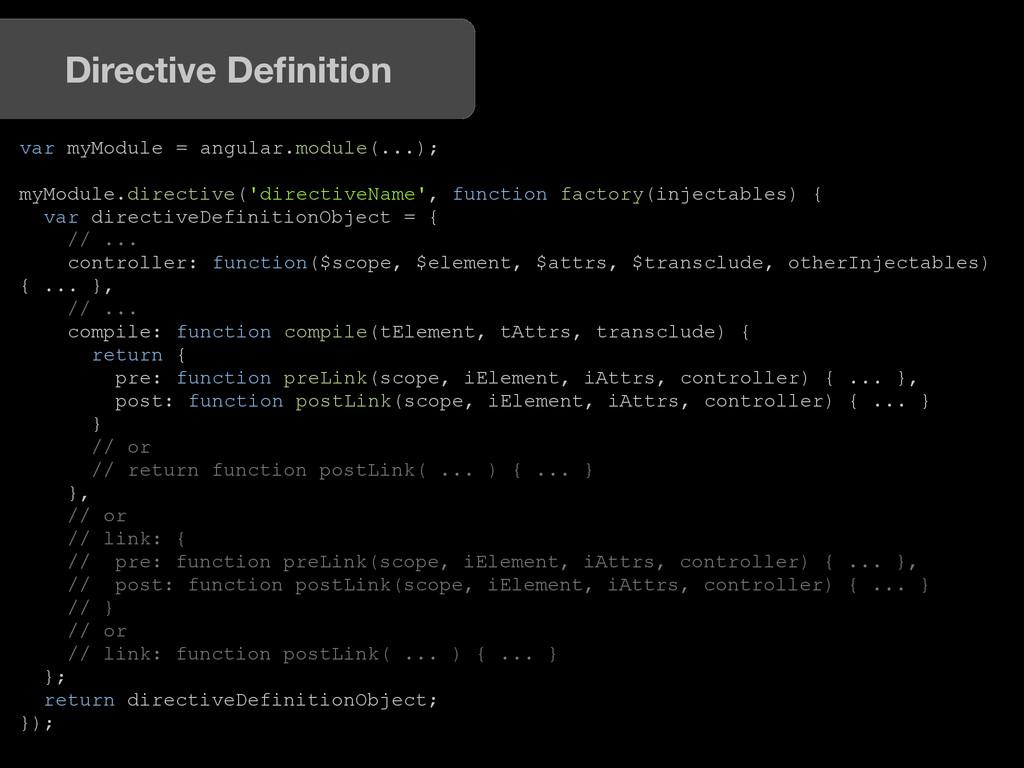 var myModule = angular.module(...); myModule.di...