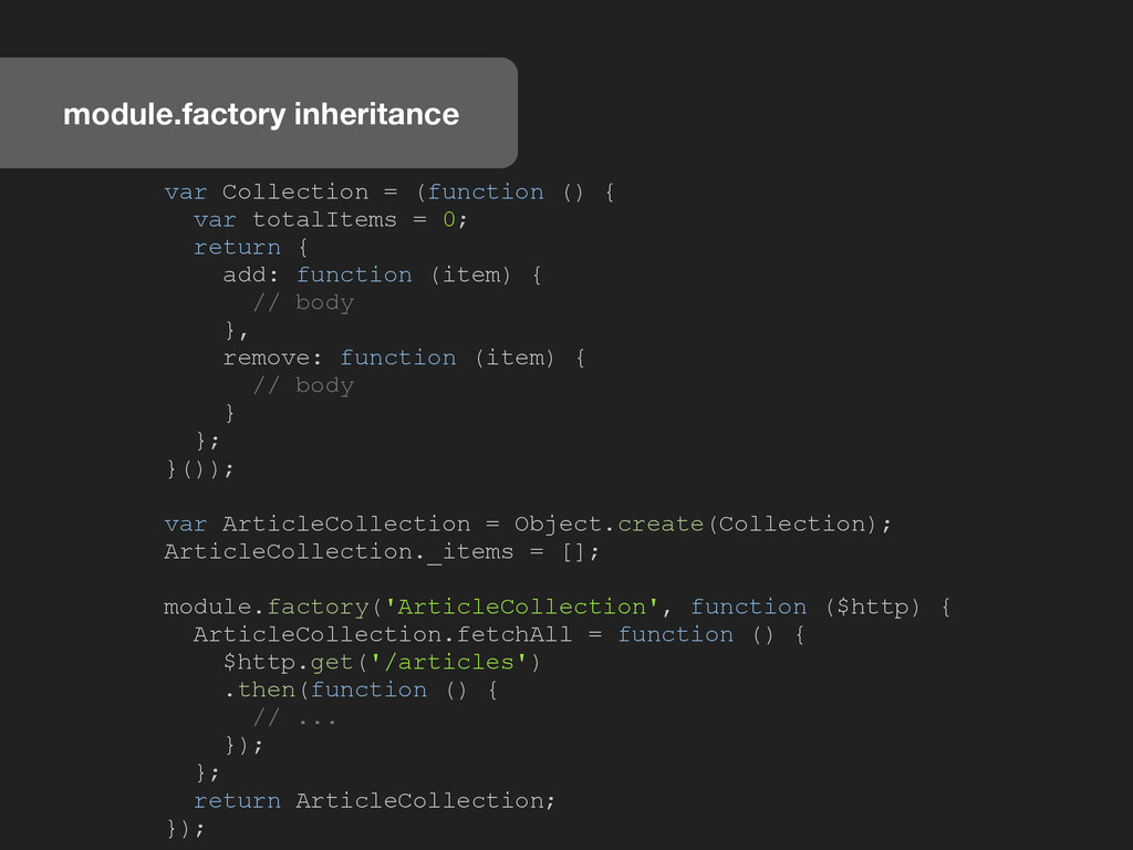module.factory inheritance var Collection = (fu...
