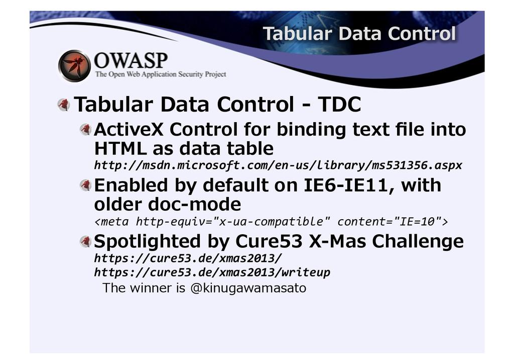 ! Tabular Data Control -‐‑‒ TDC ...