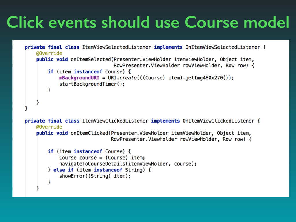 Click events should use Course model