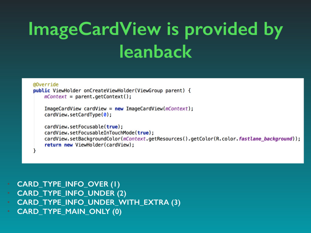 ImageCardView is provided by leanback • CARD_TY...