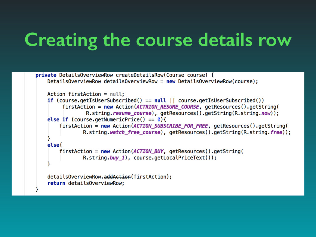 Creating the course details row