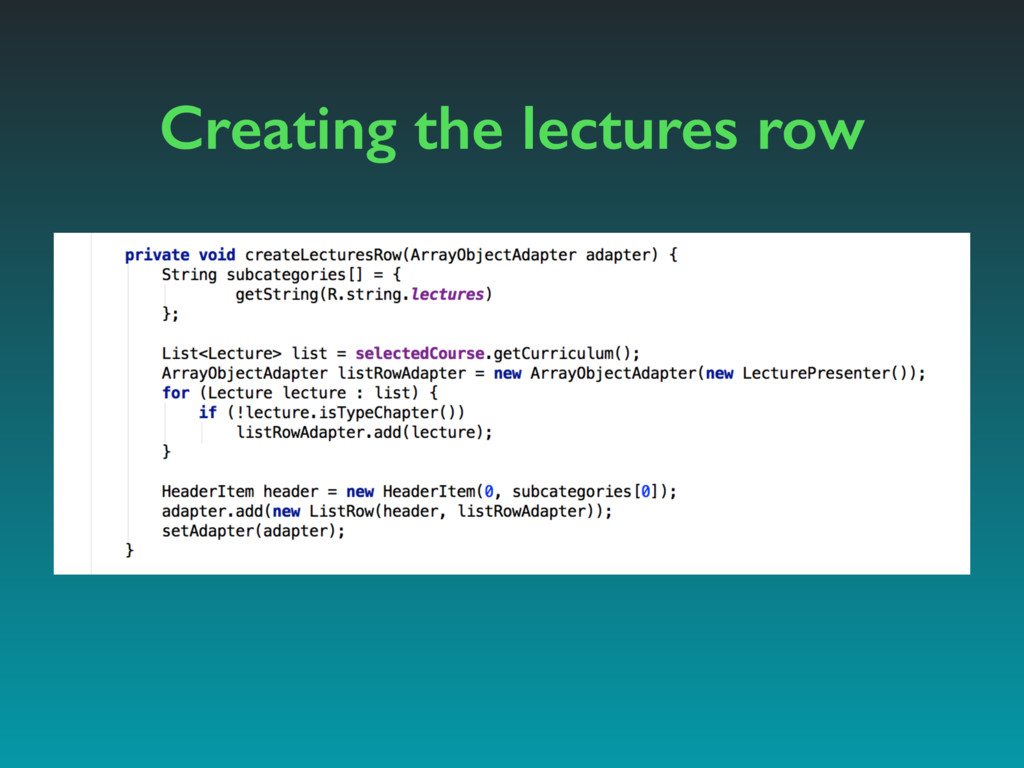 Creating the lectures row