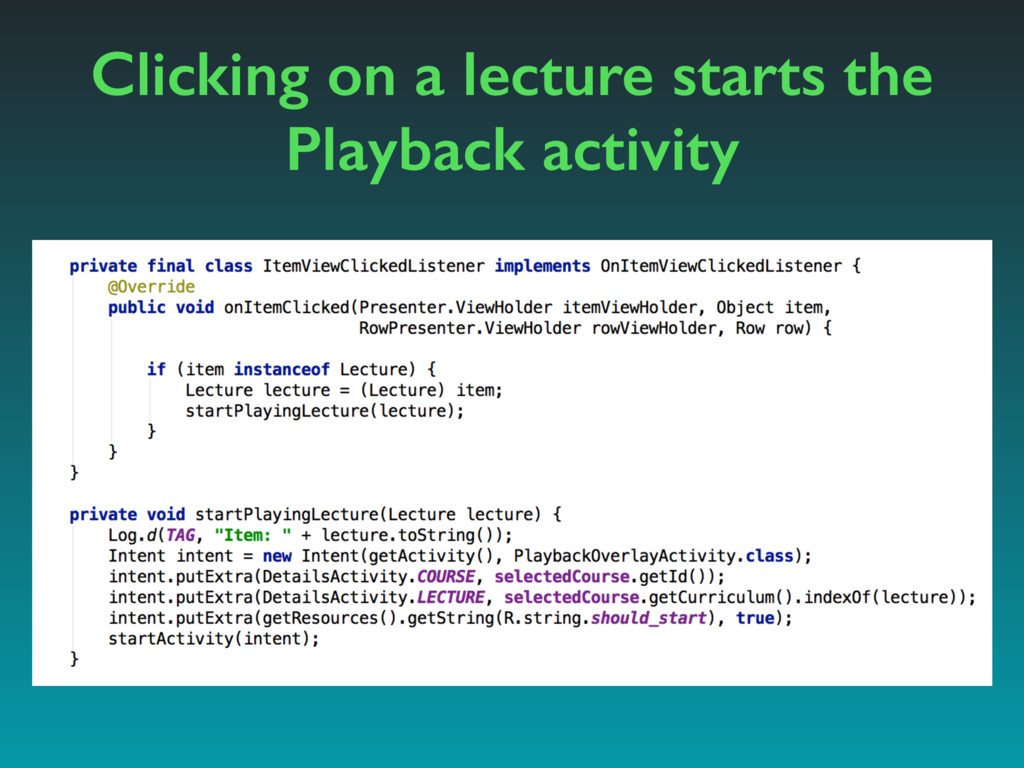 Clicking on a lecture starts the Playback activ...