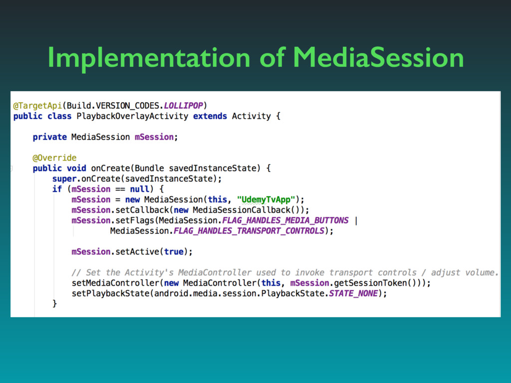 Implementation of MediaSession