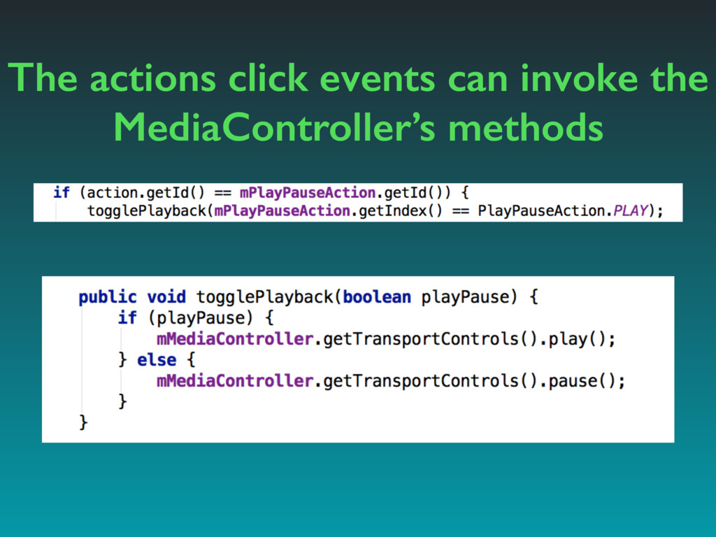 The actions click events can invoke the MediaCo...