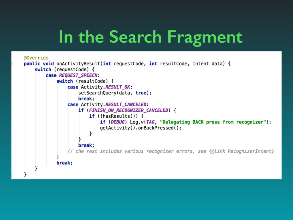 In the Search Fragment