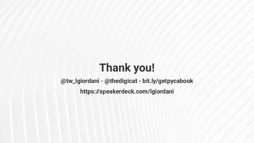 Thank you! @tw_lgiordani - @thedigicat - bit.ly...