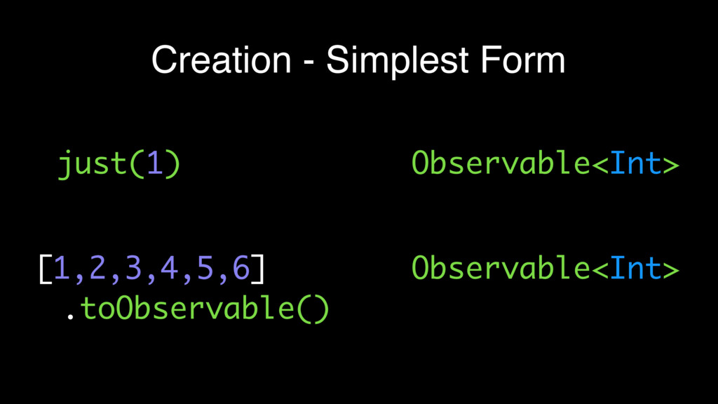 Creation - Simplest Form just(1) [1,2,3,4,5,6] ...