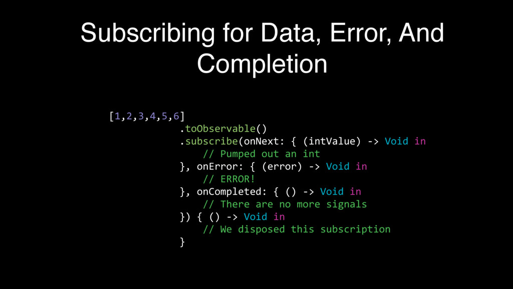 Subscribing for Data, Error, And Completion [1,...