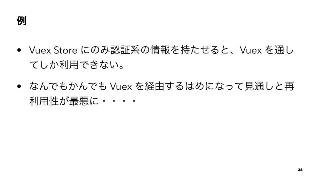 ྫ • Vuex Store ʹͷΈূܥͷใΛͨͤΔͱɺVuex Λ௨͠ ͔ͯ͠ར༻Ͱ͖...