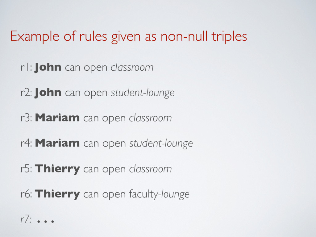 Example of rules given as non-null triples r1: ...
