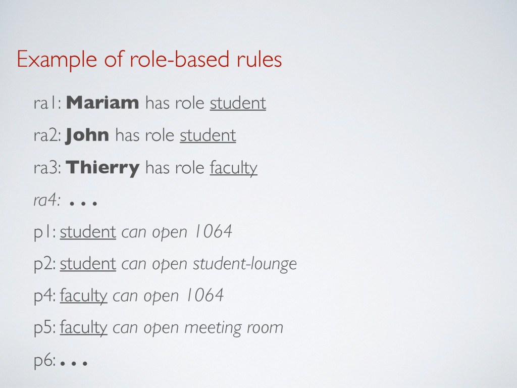Example of role-based rules ra1: Mariam has rol...