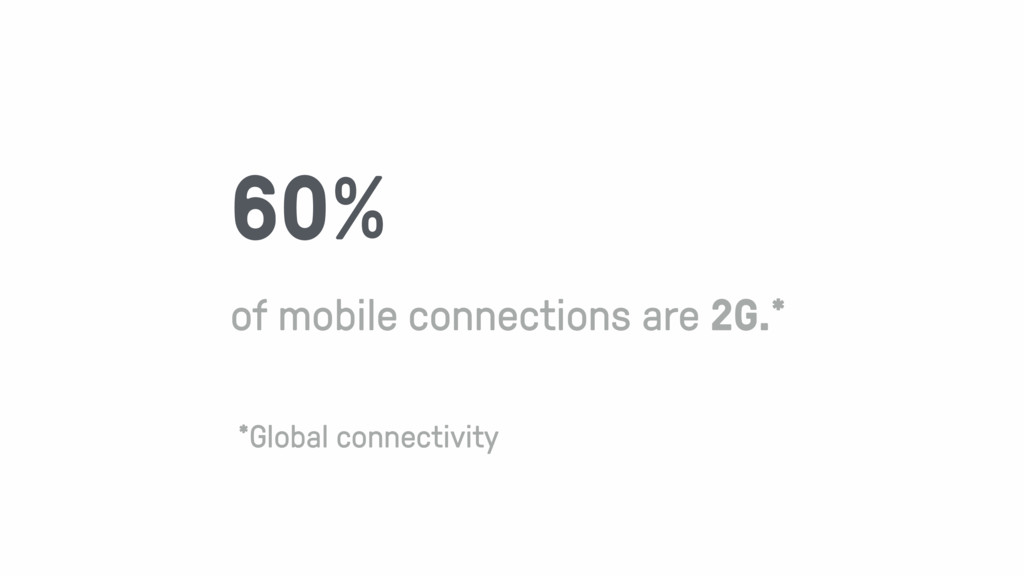 60% of mobile connections are 2G.* *Global conn...