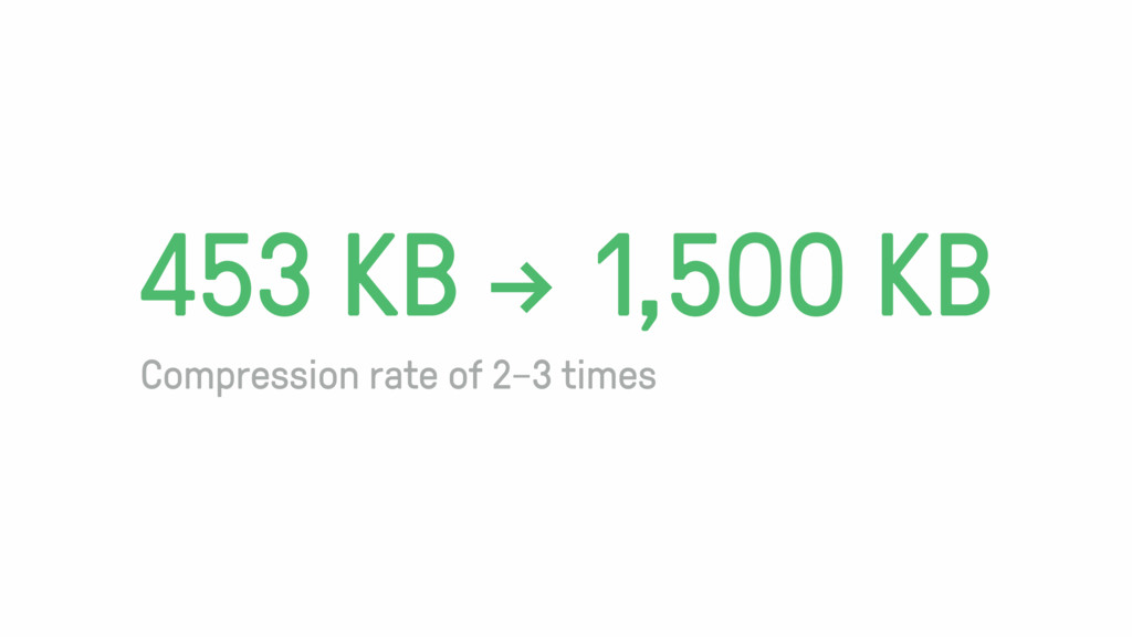 """453 KB """" 1,500 KB Compression rate of 2–3 times"""
