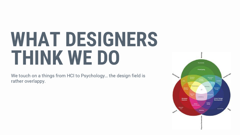 WHAT DESIGNERS THINK WE DO We touch on a things...