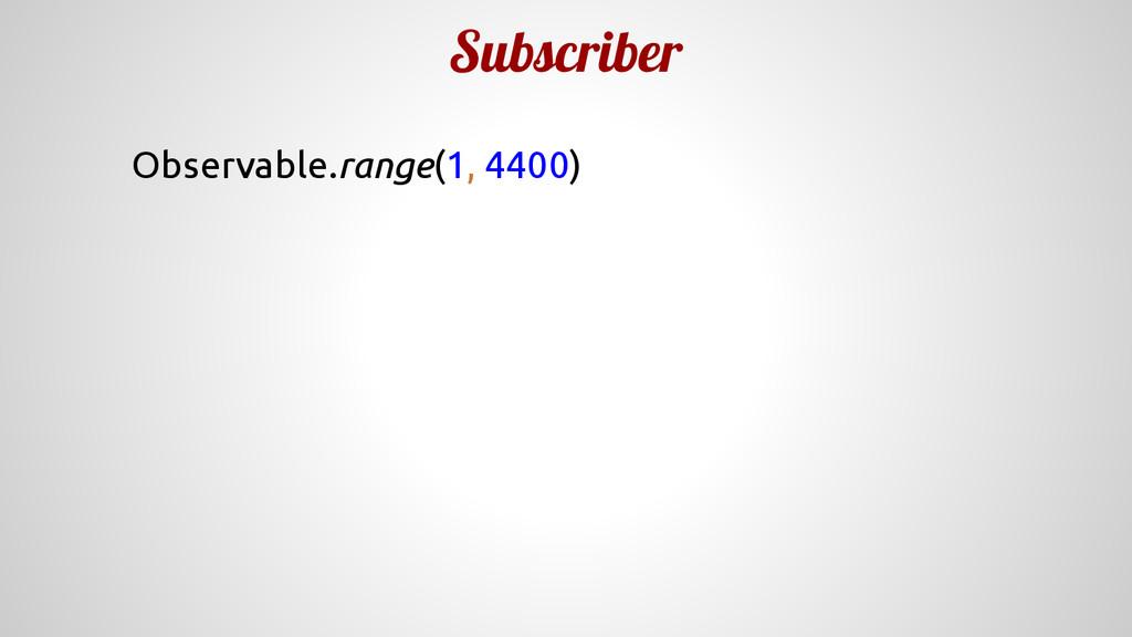 Subscriber Observable.range(1, 4400)