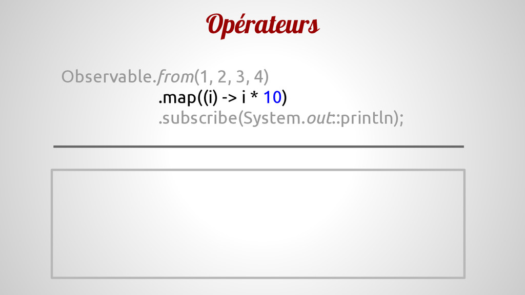 Opérateurs Observable.from(1, 2, 3, 4) .map((i)...