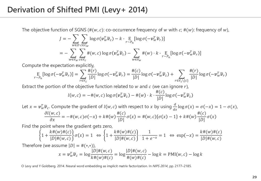Derivation of Shifted PMI (Levy+ 2014) 29 The o...