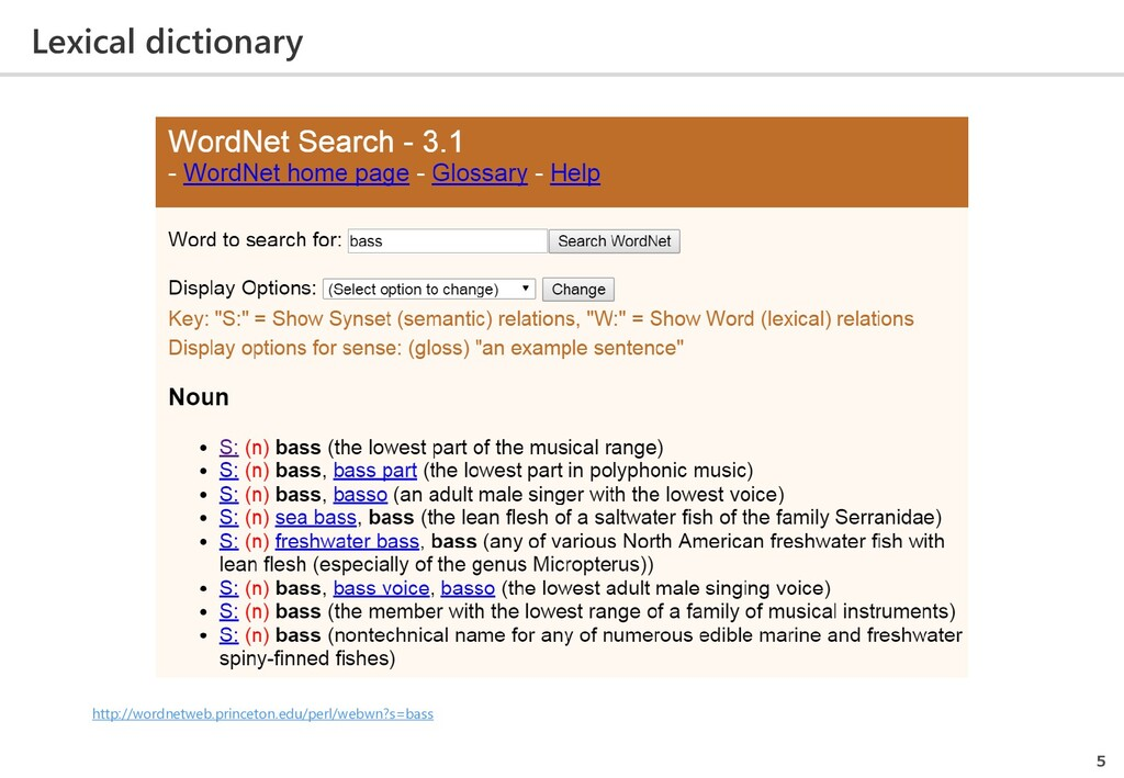 Lexical dictionary 5 http://wordnetweb.princeto...
