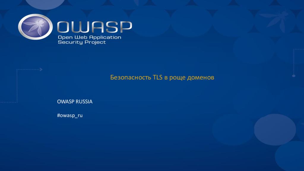 Безопасность TLS в роще доменов OWASP RUSSIA #o...