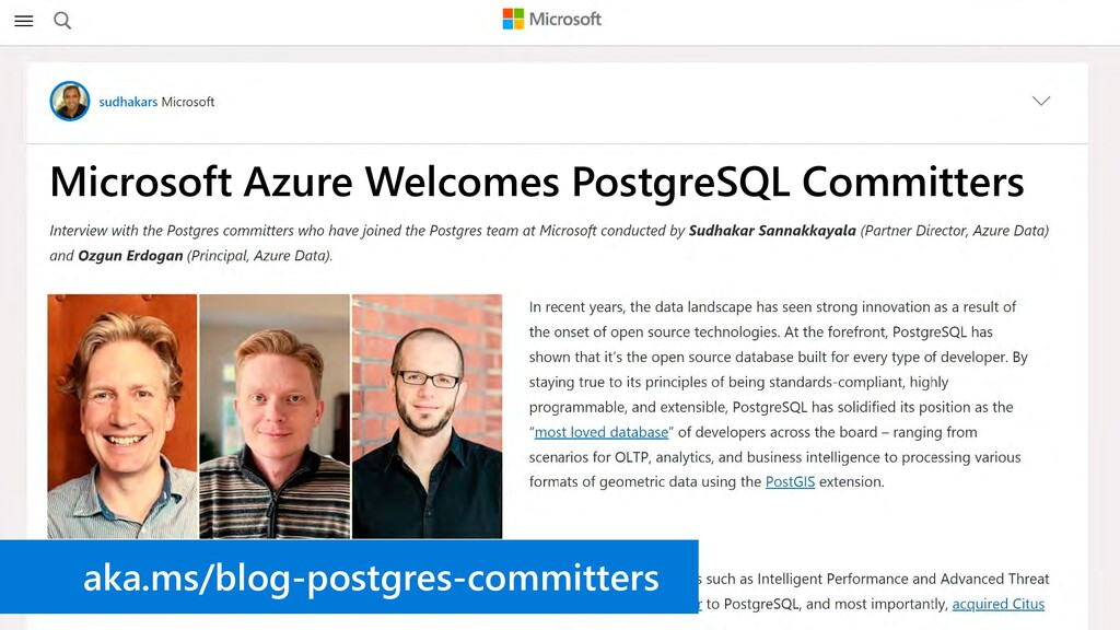 Microsoft Azure Welcomes PostgreSQL Committers ...