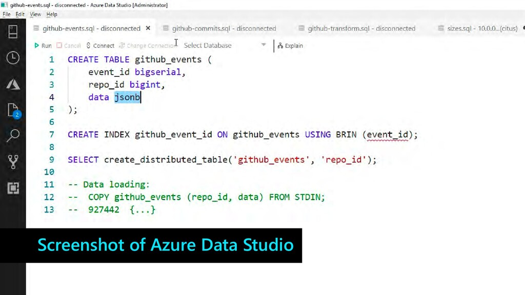 Screenshot of Azure Data Studio