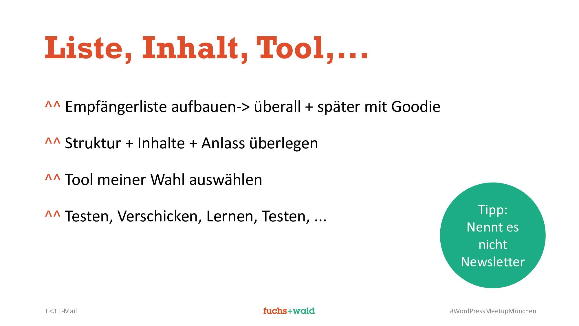 I <3 E-Mail #WordPressMeetupMünchen Liste, Inha...