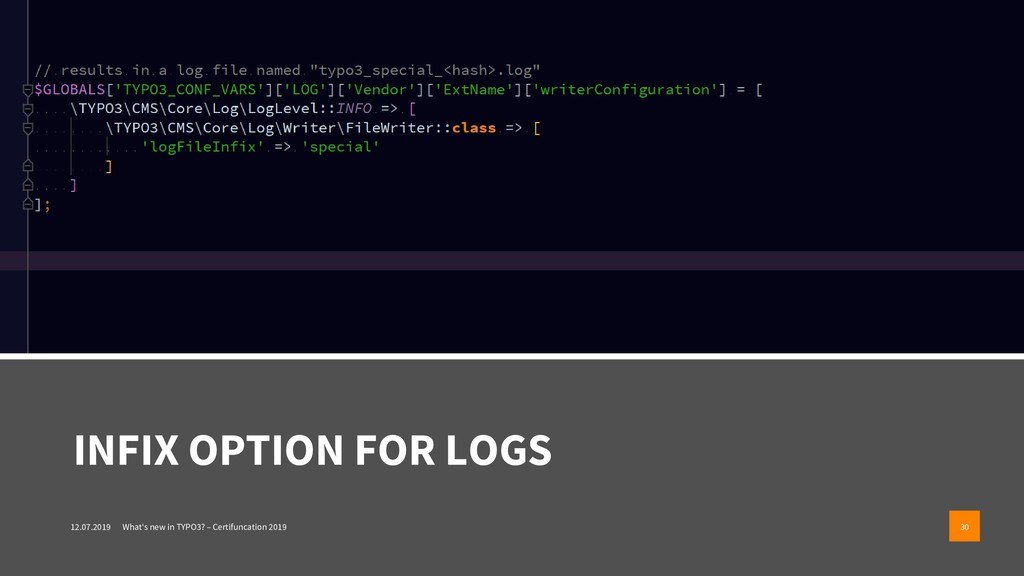INFIX OPTION FOR LOGS 12.07.2019 What's new in ...
