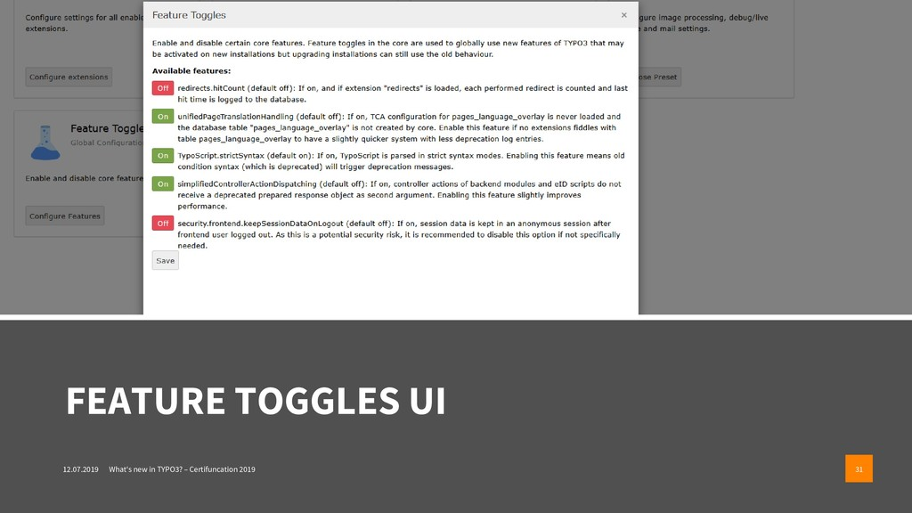 FEATURE TOGGLES UI 12.07.2019 What's new in TYP...